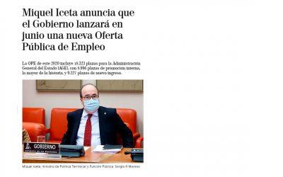 El ministro Iceta anuncia la oferta de empleo público para junio: 5540 plazas para Policía Y Guardia Civil y 1857 para Fuerzas Armadas